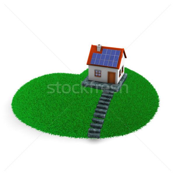 Gramado coração casa verde branco grama Foto stock © limbi007