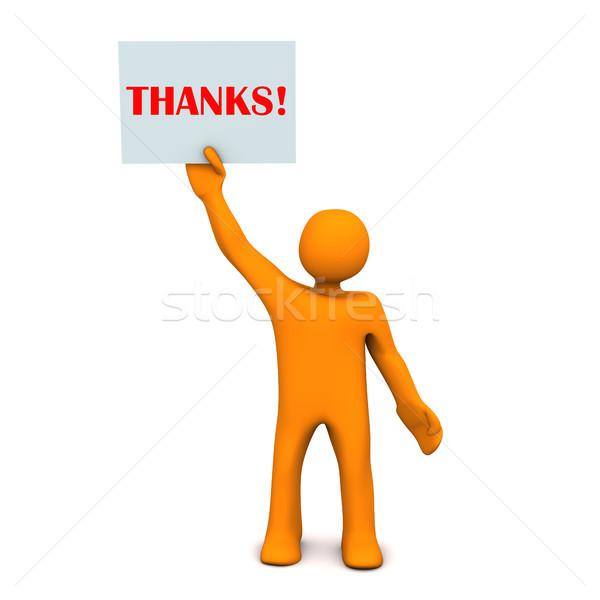 Teşekkürler turuncu levha kâğıt metin Stok fotoğraf © limbi007