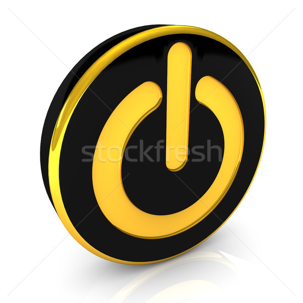 Kezdet gomb fekete arany arany színek Stock fotó © limbi007