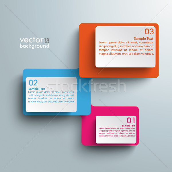 Connected Rectangles Three Steps Infographic Stock photo © limbi007