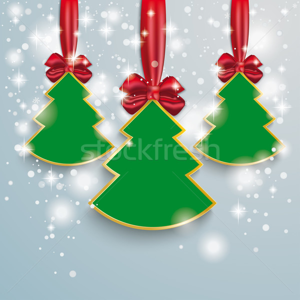 3 Christmass Tree Snow Lights Red Ribbon Stock photo © limbi007