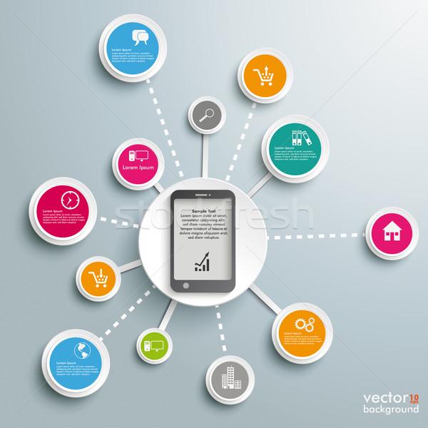 смартфон успешный сети дизайна серый Сток-фото © limbi007