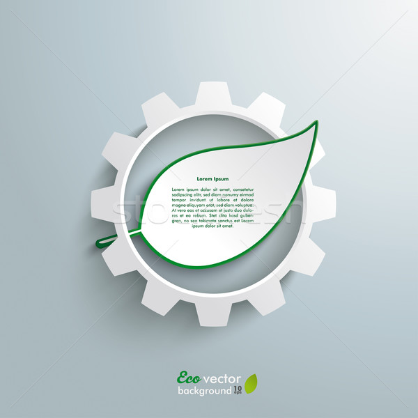 Big Gear Green Leave Infographic Stock photo © limbi007