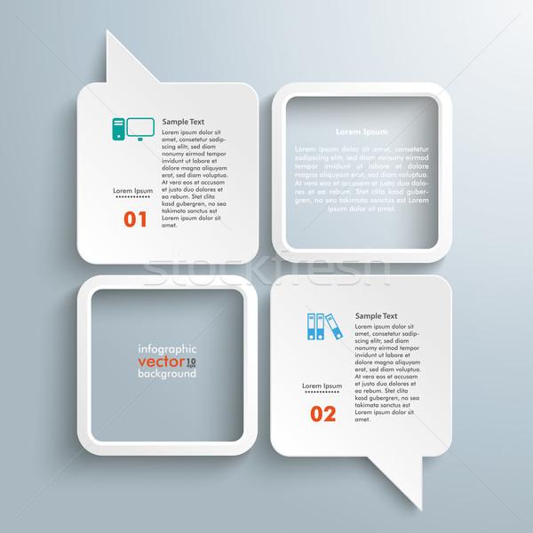 4 Rectangle Speech Bubbles 2 Frames Stock photo © limbi007