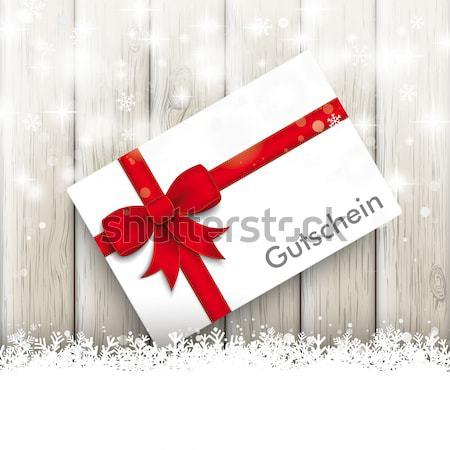 Red Ribbon Christmas Sale Shopmark Snowflakes Stock photo © limbi007