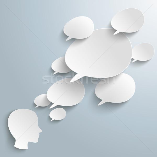 Bevel Speech Bubbles Human Head Stock photo © limbi007