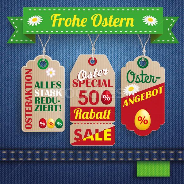 Stock photo: Jeans Ostern Sale 3 Carton Price Stickers Ribbon