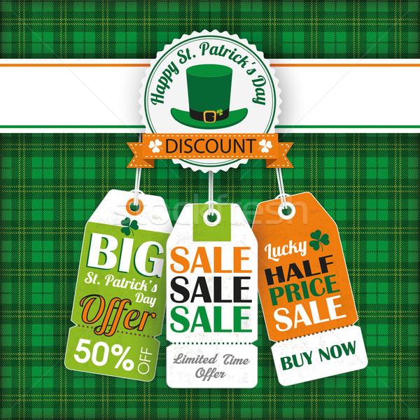 St. Patricks Day Vintage 3 Price Stickers Tartan Stock photo © limbi007