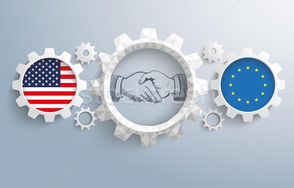 EUA ue artes apretón de manos bandera Foto stock © limbi007