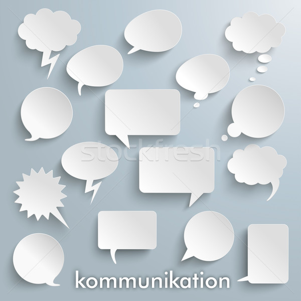 Kommunikation Paper Speech Bubbles Set Stock photo © limbi007