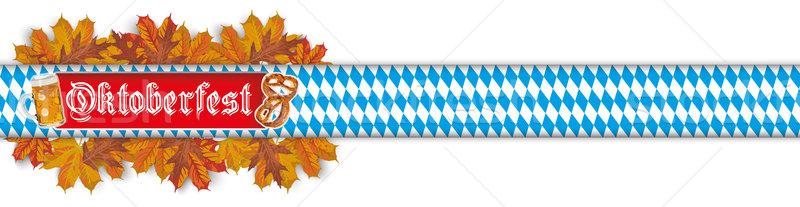 Oktoberfest szalag sör perec lomb fejléc Stock fotó © limbi007