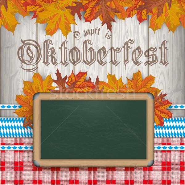 Oktoberfest Blackboard Foliage Wood Red Blanket Ribbons Stock photo © limbi007