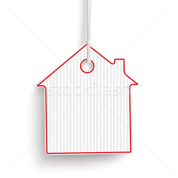 White Carton Paper House Price Sticker Stock photo © limbi007