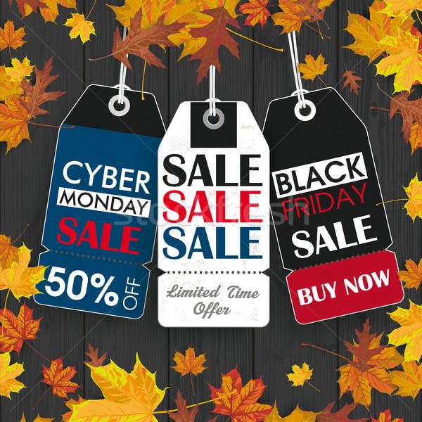 Autumn Foliage Wood 3 Price Stickers Black Friday Cyber Monday Stock photo © limbi007
