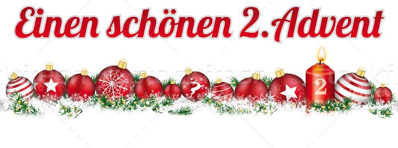 Christmas Baubles Headline Snow Banner Candle 2 Advent Stock photo © limbi007