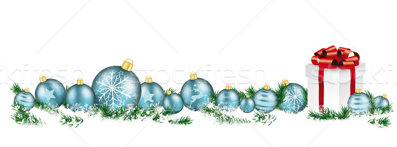 Christmas Cyan Baubles White Headline Snow Banner Gift Stock photo © limbi007