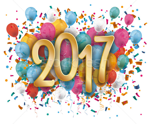 Silvester 2017 Balloons Confetti Stock photo © limbi007