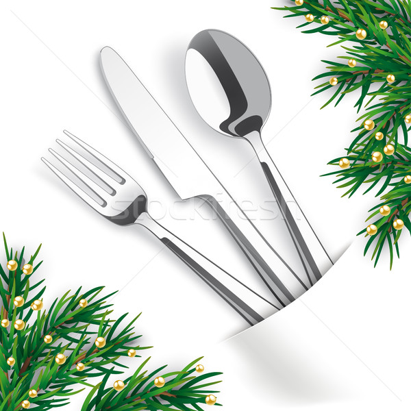 White Convert Napkin Fork Knife Spoon Fir Twigs Stock photo © limbi007