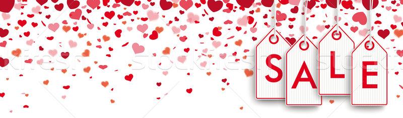 Sale Price Stickers Confetti Hearts Header Stock photo © limbi007