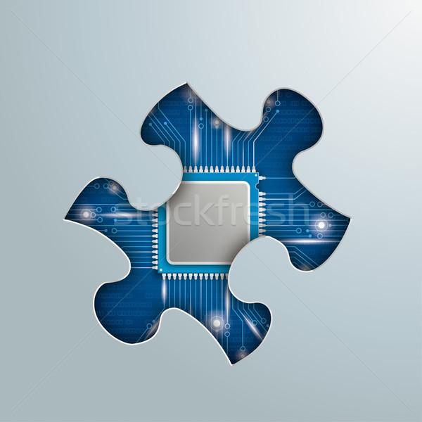 Stockfoto: Puzzel · gat · microchip · grijs · eps · 10