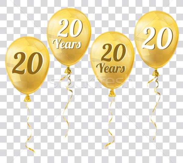 Arany átlátszó léggömb 20 évek léggömbök Stock fotó © limbi007