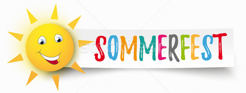 Stockfoto: Papier · banner · grappig · zon · tekst · zomer
