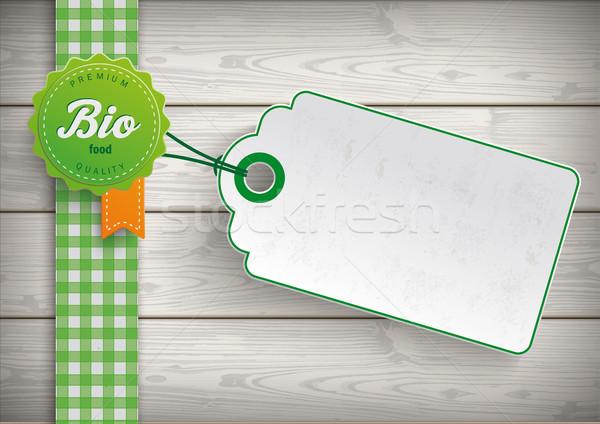 Bio alimentare etichetta prezzo adesivo legno Foto d'archivio © limbi007