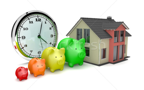 House Clock Piggy Banks Growth Stock photo © limbi007