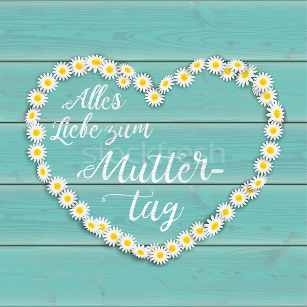 Turquoise Wood Daisy Flowers Muttertag Heart Stock photo © limbi007