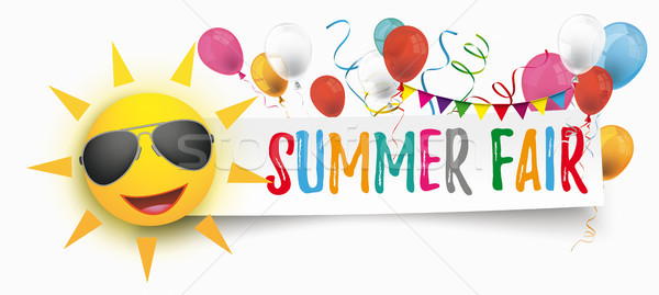 Papier bannière ballons soleil lunettes de soleil été Photo stock © limbi007