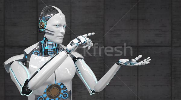 Branco robô clique algo ilustração 3d indústria Foto stock © limbi007