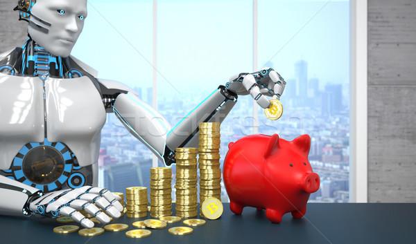Robot Bitcoins Red Piggy Bank Stock photo © limbi007