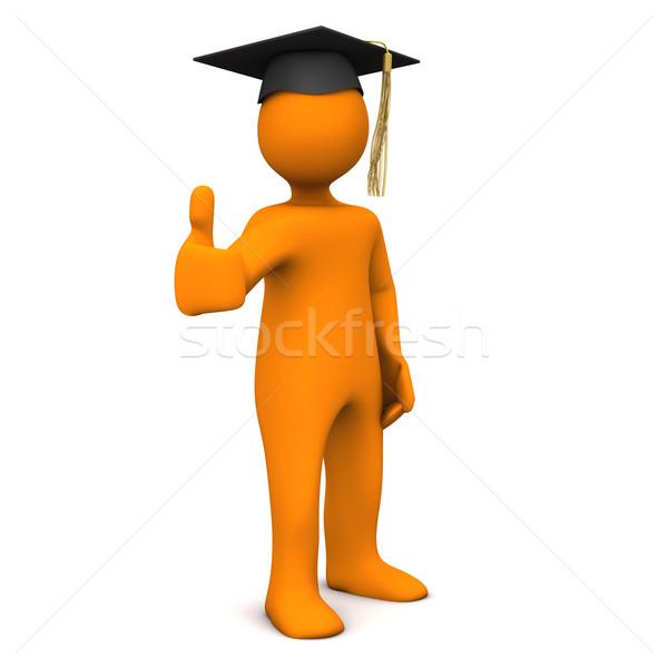 Diplomás fekete ok narancs rajzfilmfigura érettségi Stock fotó © limbi007