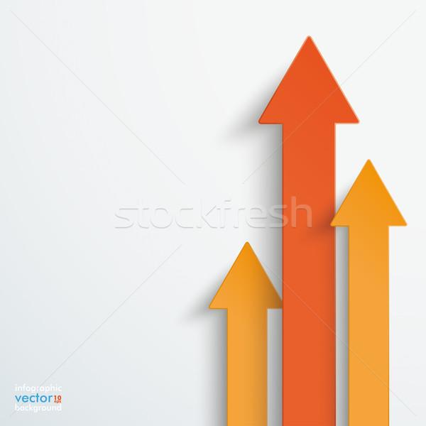 Three Orange Arrows Growth Stock photo © limbi007