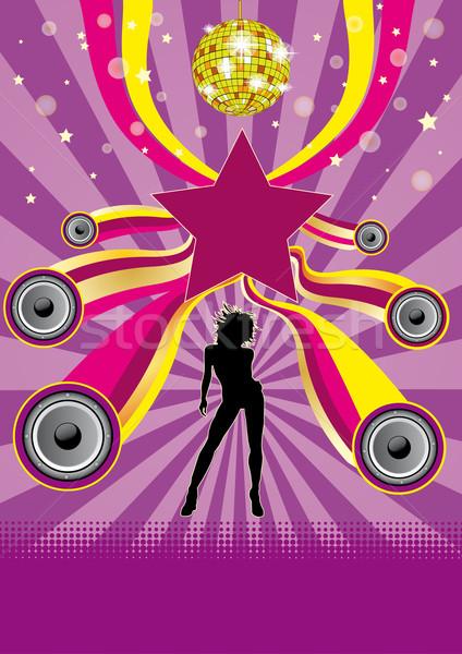 Roxo festa estrela aviador cartaz música Foto stock © limbi007