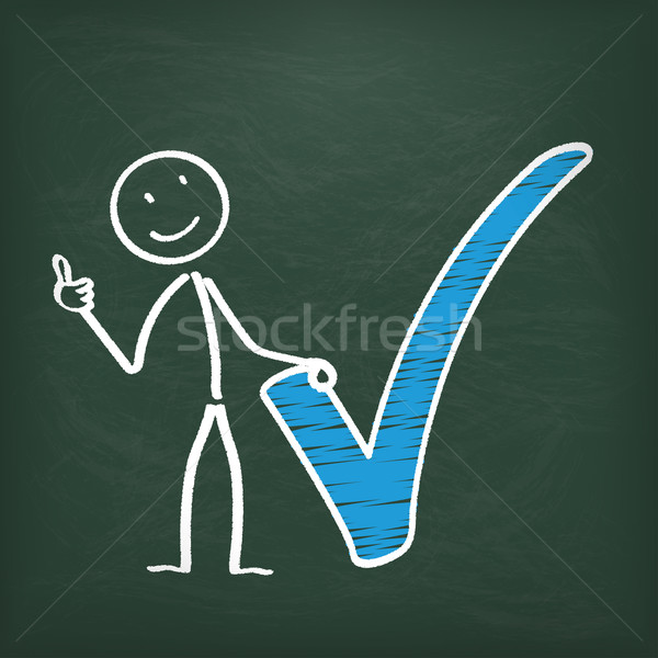 Blackboard Stickman Blue Tick Ok Stock photo © limbi007