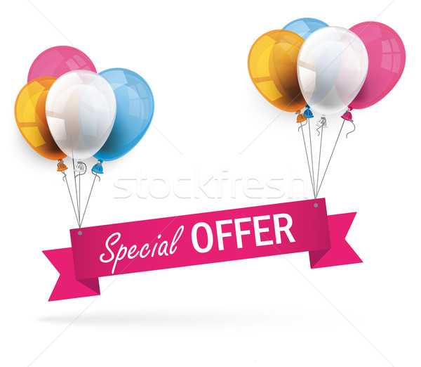 Colored Balloons Ribbon Special Offer Stock photo © limbi007