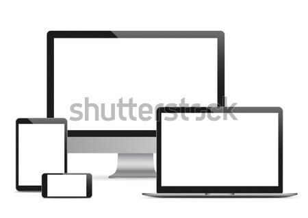 Vetor conjunto preto monitor caderno Foto stock © limbi007