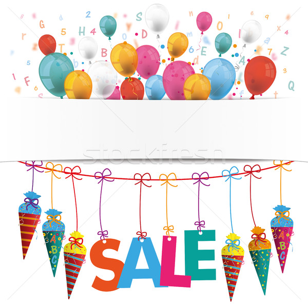 Candy Cones Banner Balloons Sale Letters Stock photo © limbi007