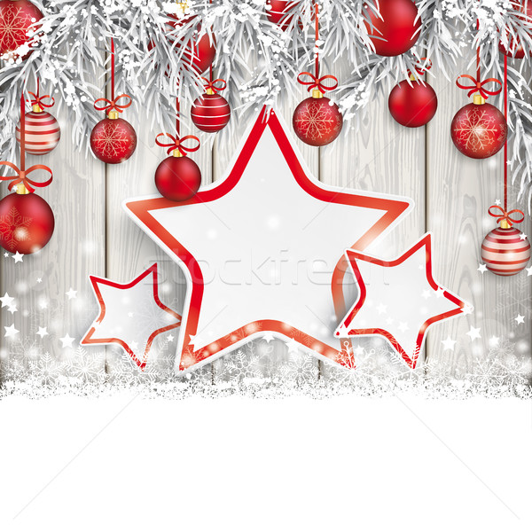 Christmas Red Baubles Frozen Twigs Snow Wood 3 Stars Stock photo © limbi007