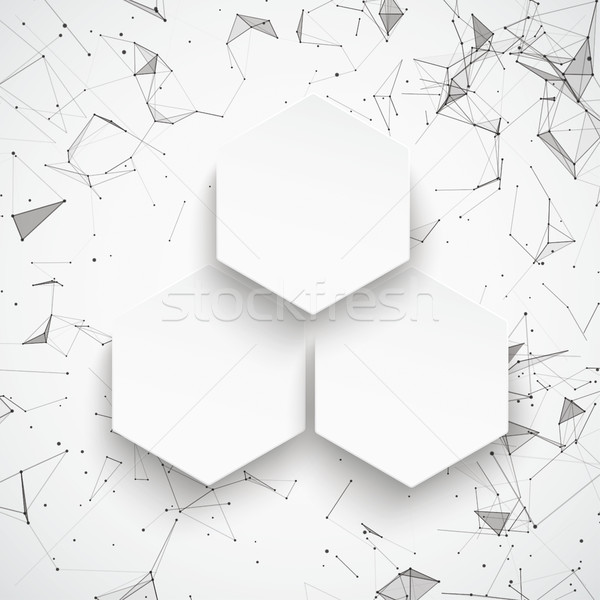 3 Hexagons Abstract Background Connected Dots Stock photo © limbi007