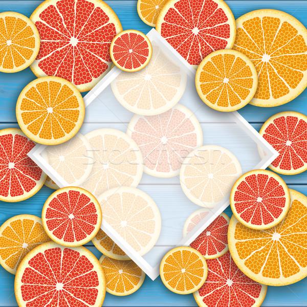 Niebieski drewna grejpfrut pomarańczowy owoce ramki Zdjęcia stock © limbi007