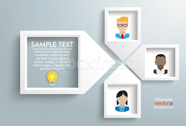 Paper Arrow Frames Solution Humans Infographic Stock photo © limbi007