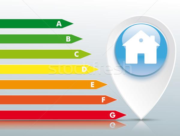 Casa azul botão certidão edifício energia Foto stock © limbi007