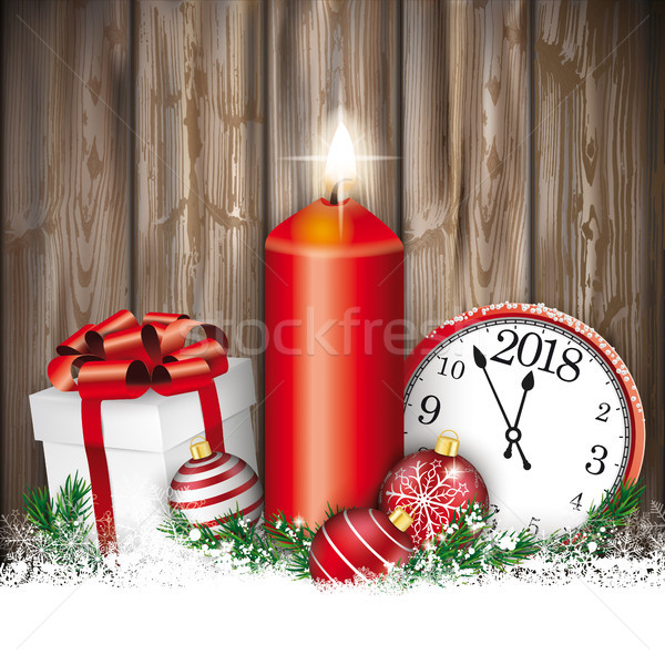 Christmas Worn Wood Candle Clock Gift Baubles 2018 Stock photo © limbi007