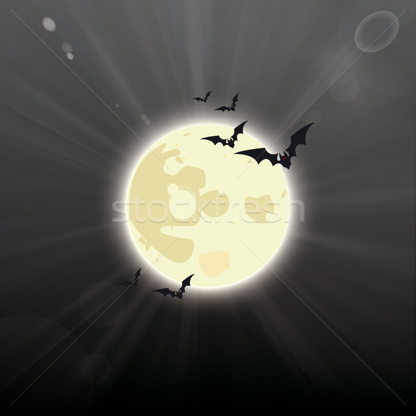 Full Moon Dark Night Sky Halloween Stock photo © limbi007