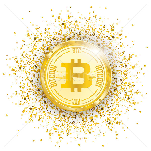 Bitcoin dourado partículas confete moeda branco Foto stock © limbi007