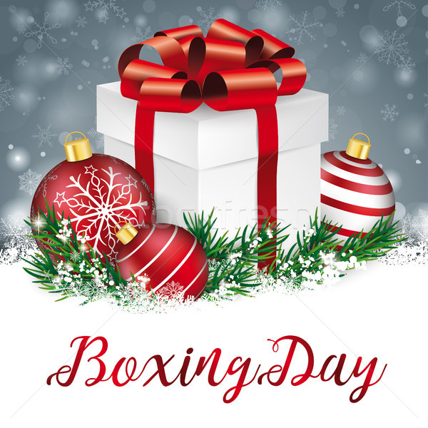 Gray Christmas Snowflakes Red Baubles Gift Boxing Day Stock photo © limbi007