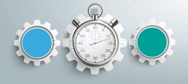 3 Colored Gears Infographic Header Stopwatch Stock photo © limbi007