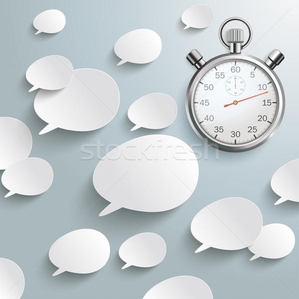White Speech Bubbles Stopwatch Stock photo © limbi007